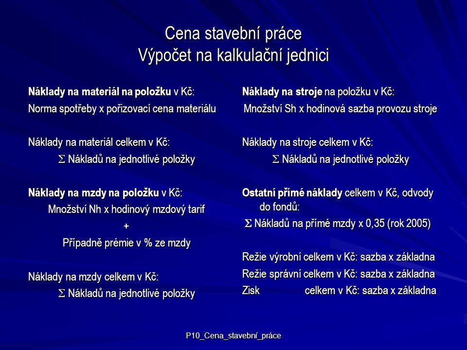 Cena stavební práce Výpočet na kalkulační jednici