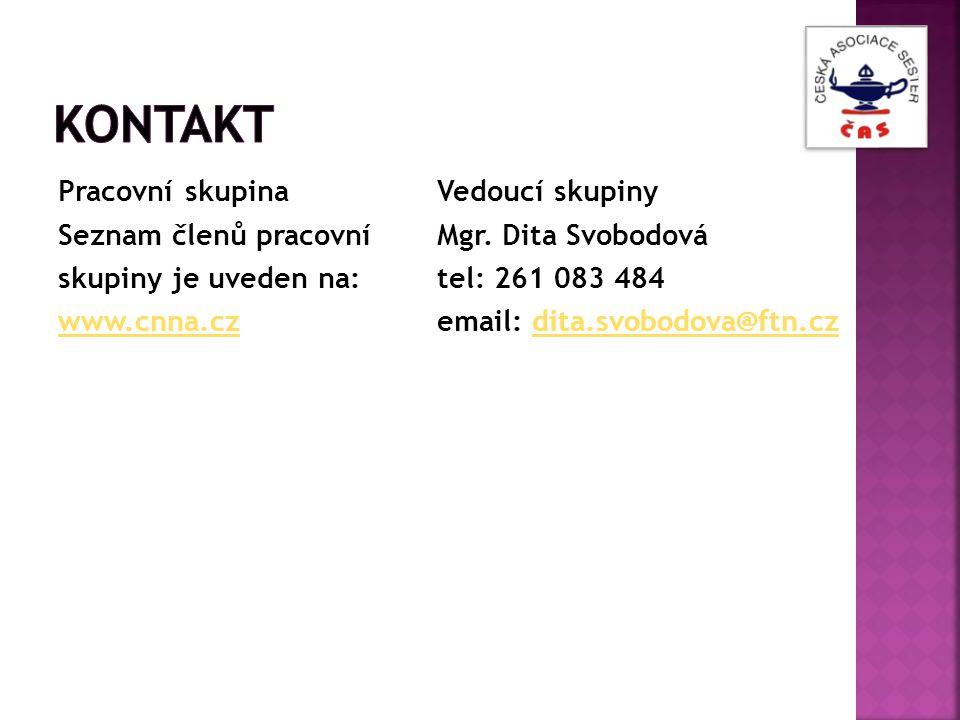 Kontakt Pracovní skupina Seznam členů pracovní skupiny je uveden na: www.cnna.cz Vedoucí skupiny.