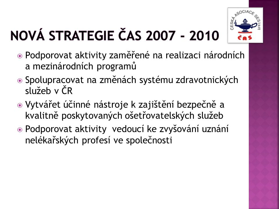 Nová strategie ČAS 2007 - 2010 Podporovat aktivity zaměřené na realizaci národních a mezinárodních programů.