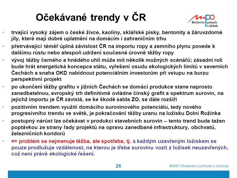 Očekávané trendy v ČR