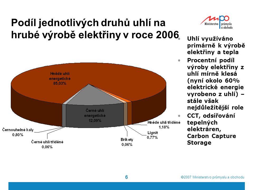 Podíl jednotlivých druhů uhlí na hrubé výrobě elektřiny v roce 2006