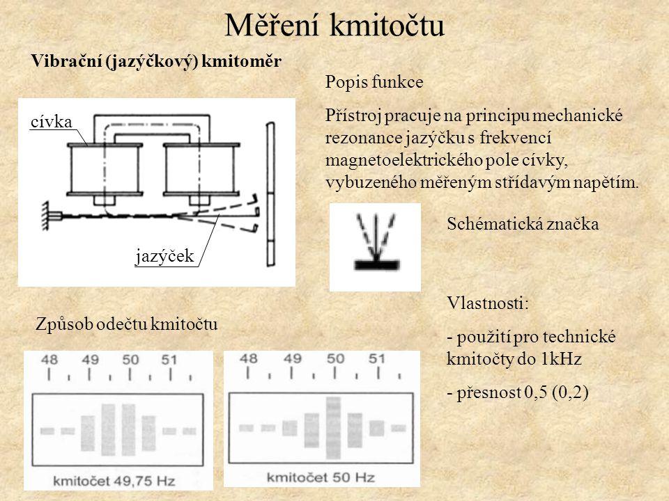 Měření kmitočtu Vibrační (jazýčkový) kmitoměr Popis funkce
