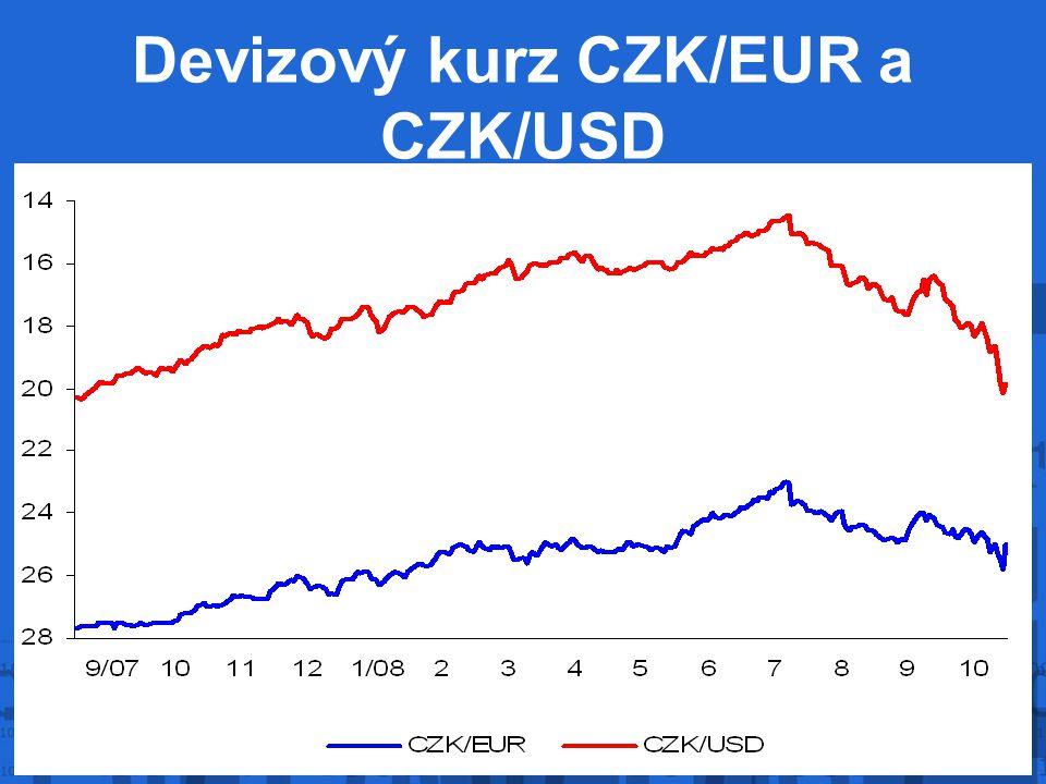 Devizový kurz CZK/EUR a CZK/USD