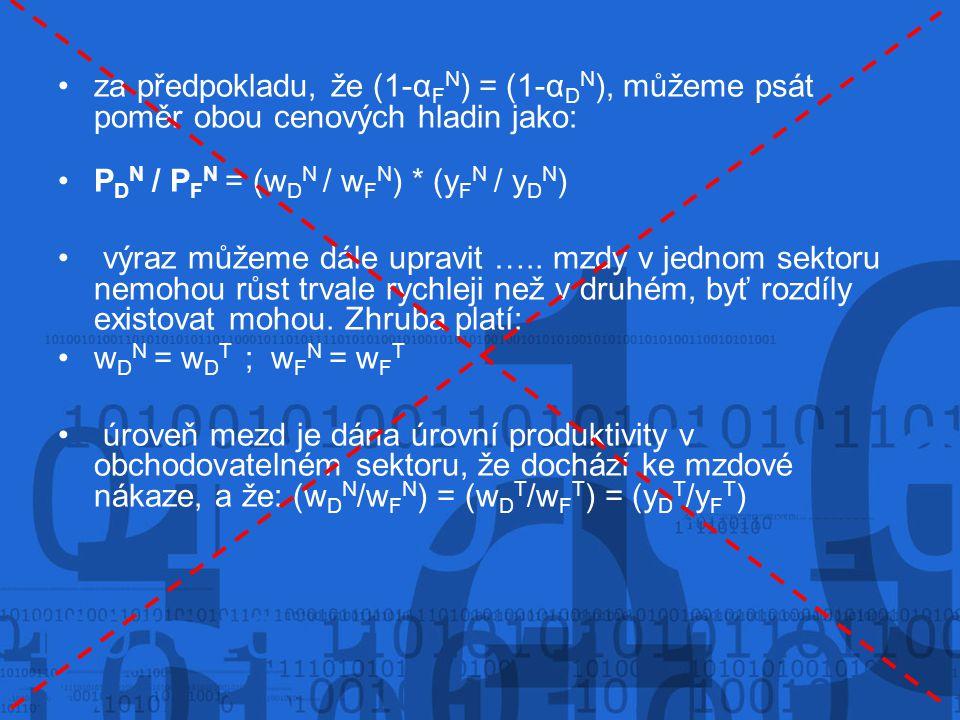 za předpokladu, že (1-αFN) = (1-αDN), můžeme psát poměr obou cenových hladin jako:
