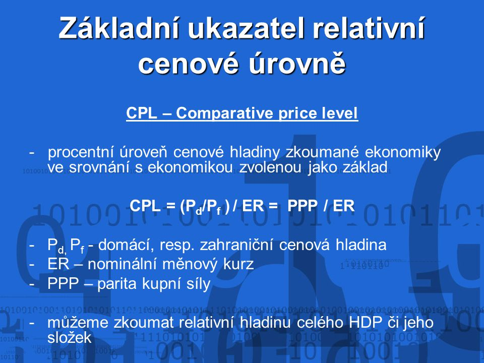 Základní ukazatel relativní cenové úrovně