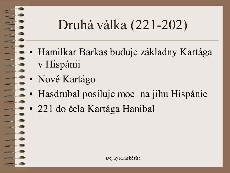 Druhá válka (221-202) Hamilkar Barkas buduje základny Kartága v Hispánii. Nové Kartágo. Hasdrubal posiluje moc na jihu Hispánie.