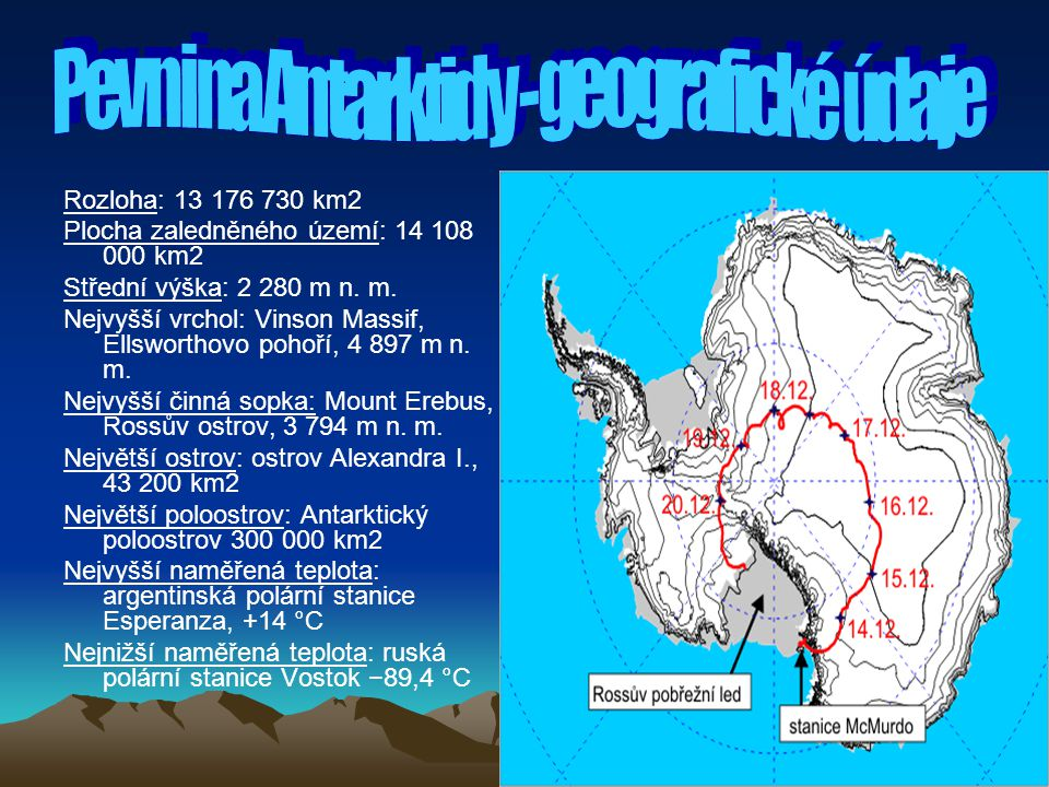 Pevnina Antarktidy - geografické údaje