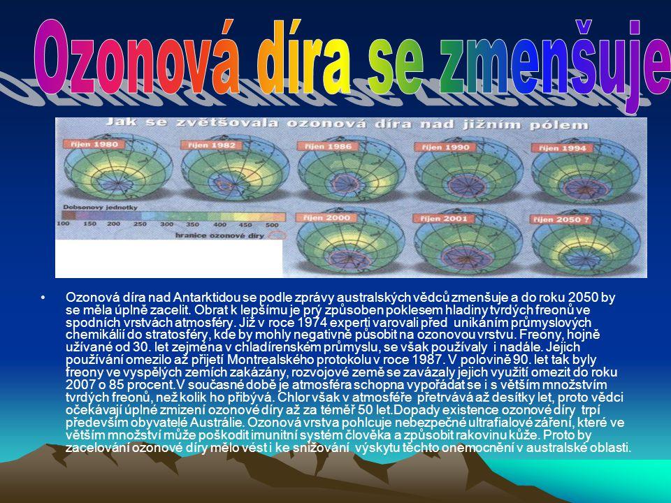 Ozonová díra se zmenšuje