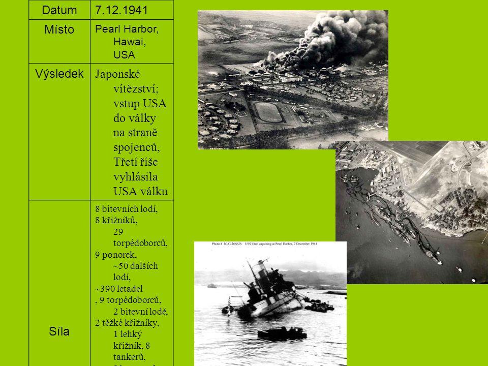 Datum 7.12.1941. Místo. Pearl Harbor, Hawai, USA. Výsledek.