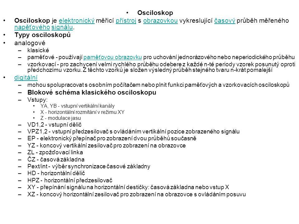 Blokové schéma klasického osciloskopu