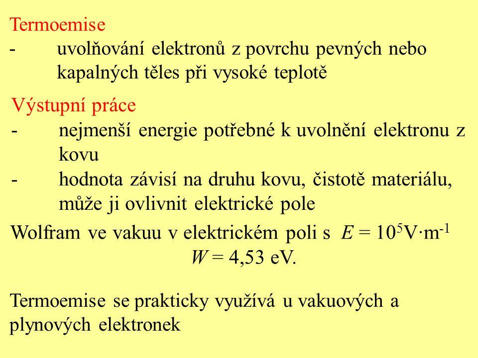 - nejmenší energie potřebné k uvolnění elektronu z kovu