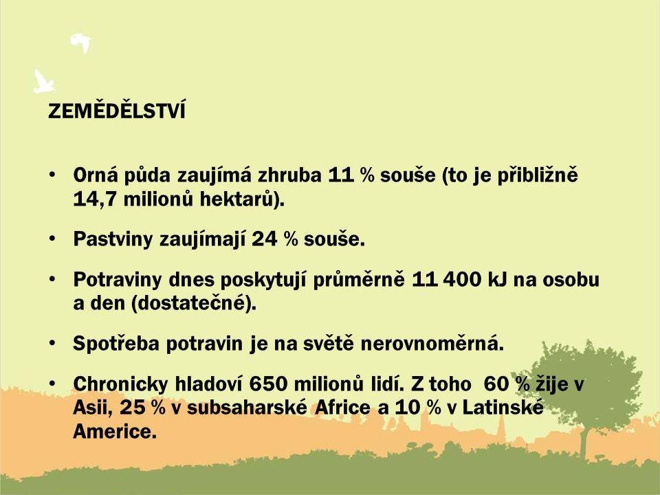 ZEMĚDĚLSTVÍ Orná půda zaujímá zhruba 11 % souše (to je přibližně 14,7 milionů hektarů). Pastviny zaujímají 24 % souše.