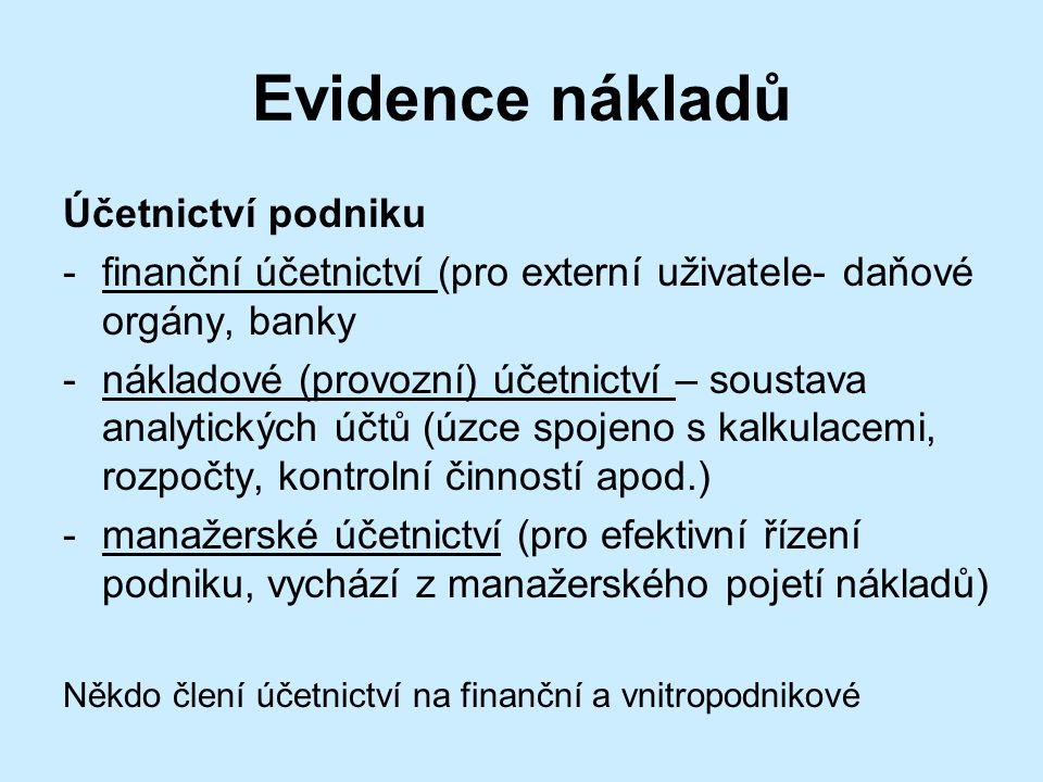 Evidence nákladů Účetnictví podniku