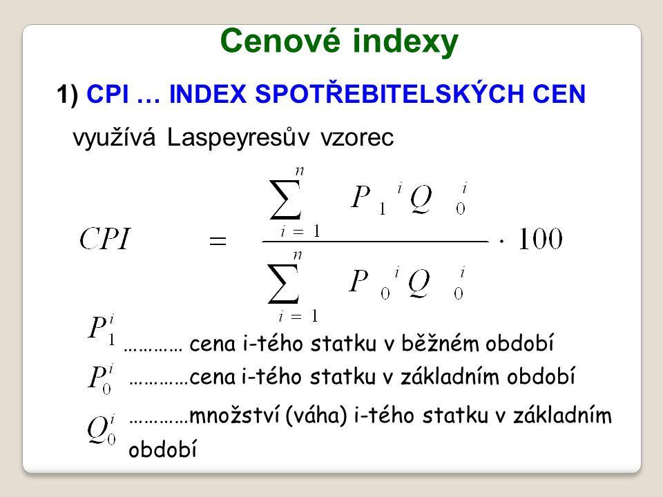 Cenové indexy 1) CPI … INDEX SPOTŘEBITELSKÝCH CEN