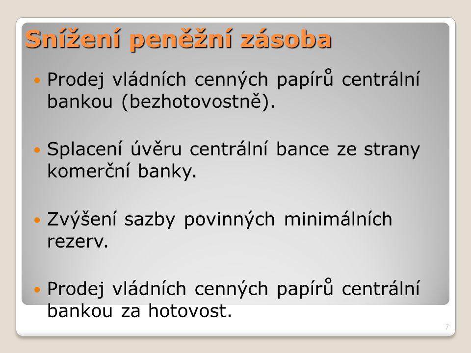 Snížení peněžní zásoba