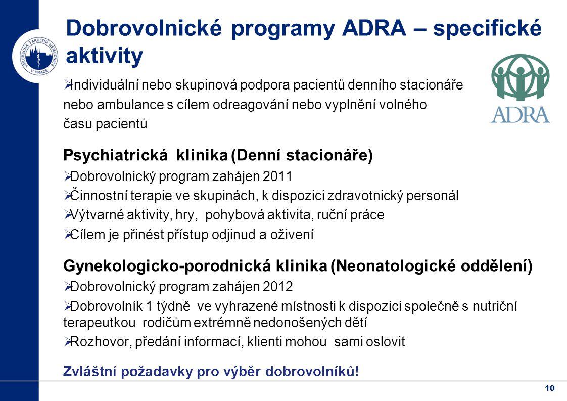 Dobrovolnické programy ADRA – specifické aktivity