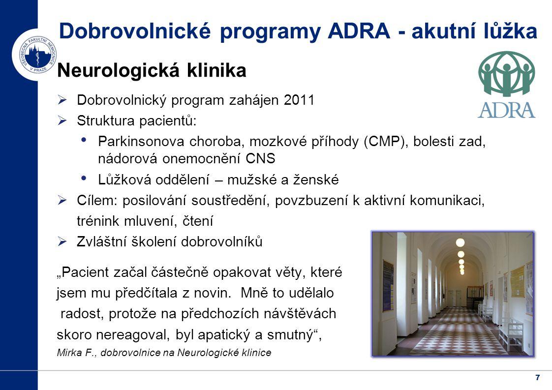 Dobrovolnické programy ADRA - akutní lůžka