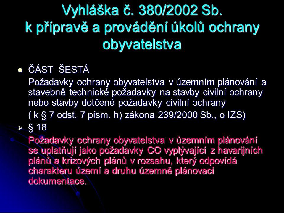 Vyhláška č. 380/2002 Sb. k přípravě a provádění úkolů ochrany obyvatelstva