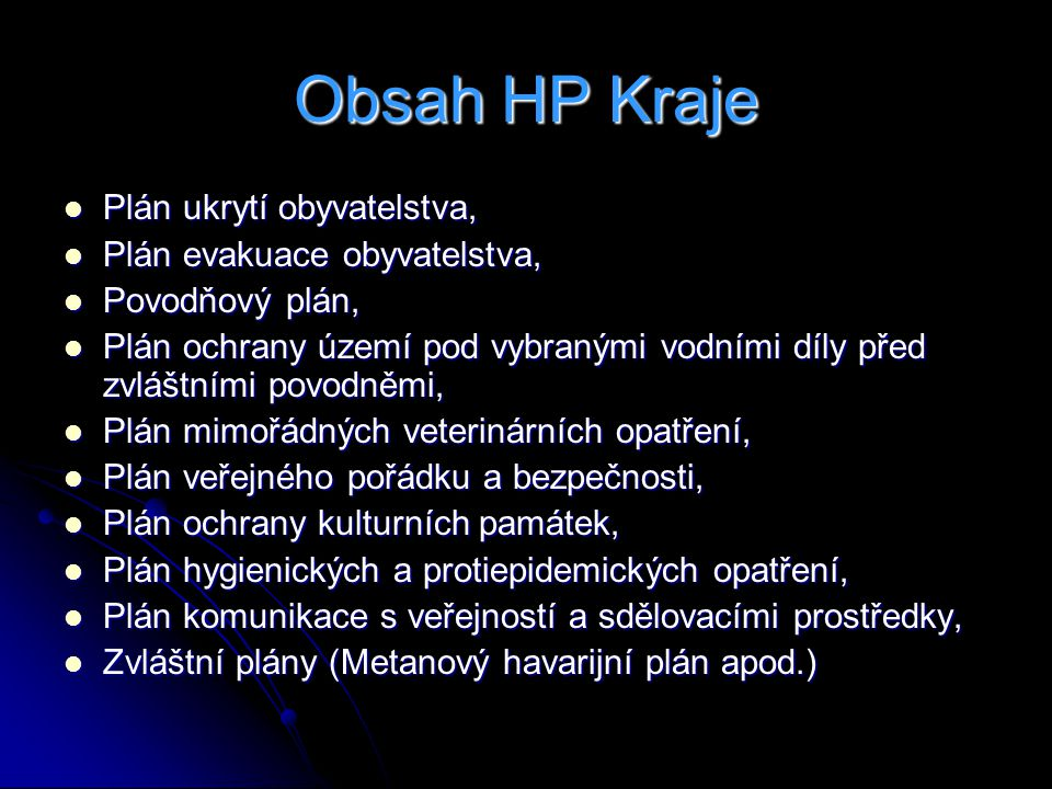 Obsah HP Kraje Plán ukrytí obyvatelstva, Plán evakuace obyvatelstva,