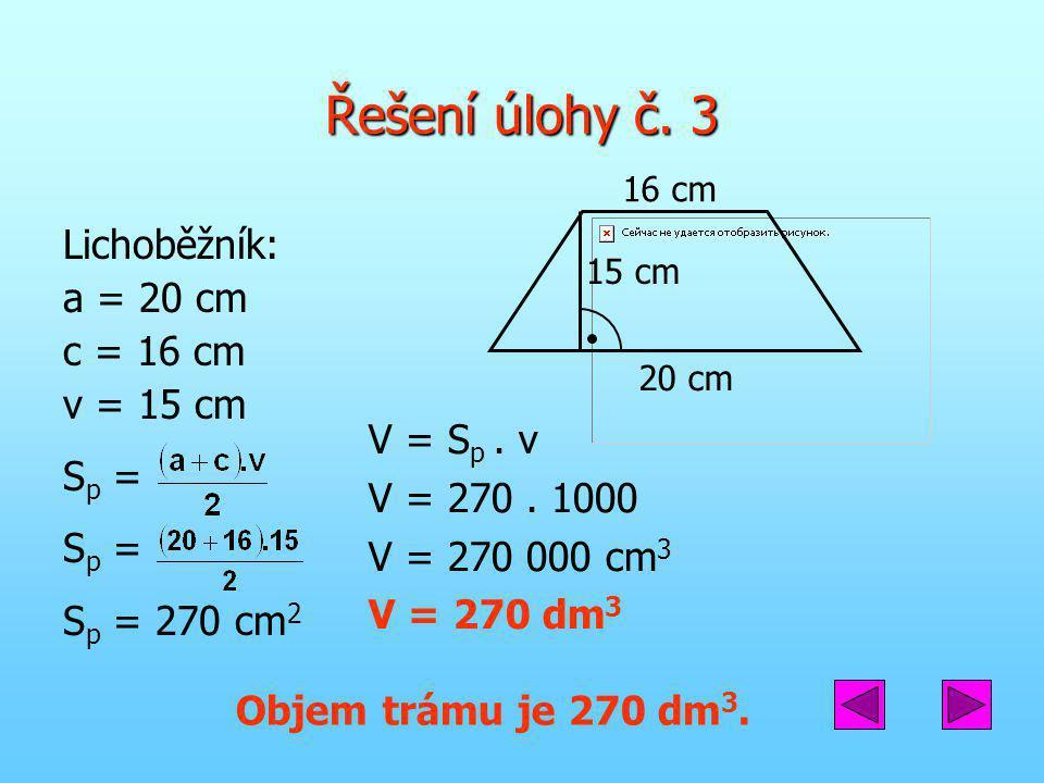 Řešení úlohy č. 3 Lichoběžník: a = 20 cm c = 16 cm v = 15 cm Sp =