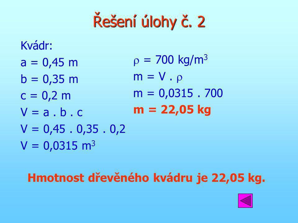 Hmotnost dřevěného kvádru je 22,05 kg.