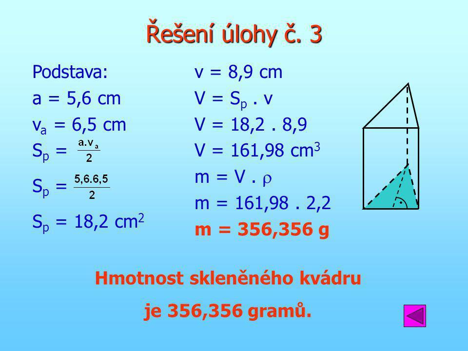 Hmotnost skleněného kvádru