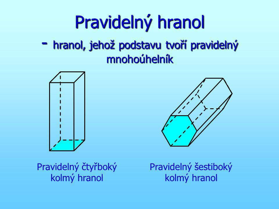 Pravidelný hranol - hranol, jehož podstavu tvoří pravidelný mnohoúhelník