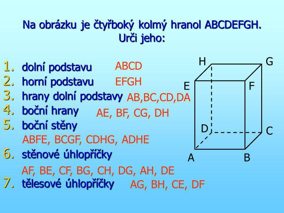 Na obrázku je čtyřboký kolmý hranol ABCDEFGH. Urči jeho: