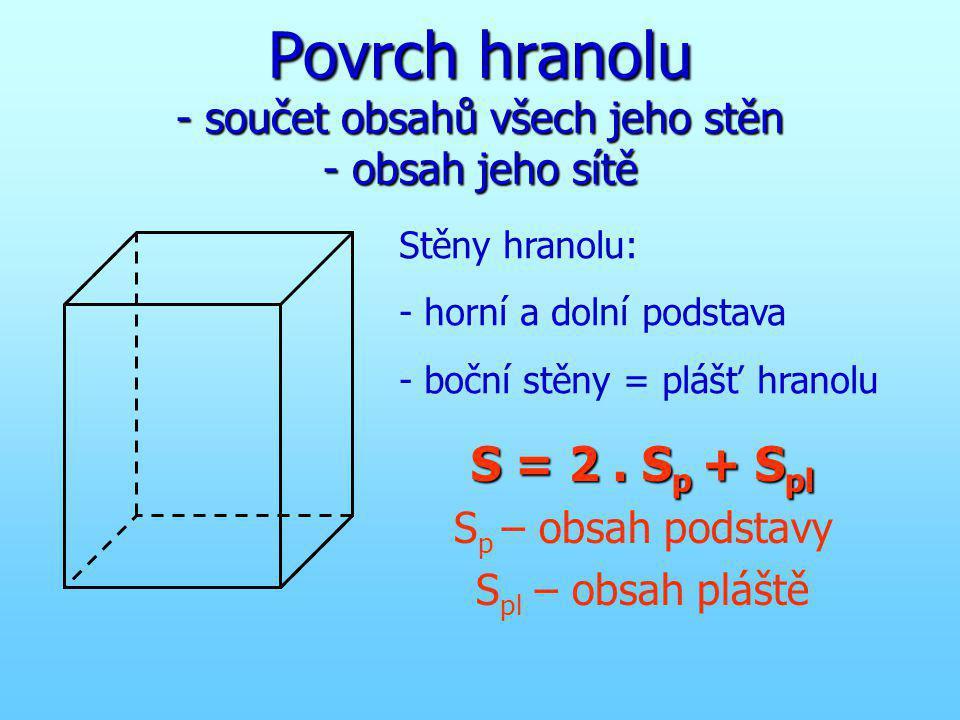 Povrch hranolu - součet obsahů všech jeho stěn - obsah jeho sítě
