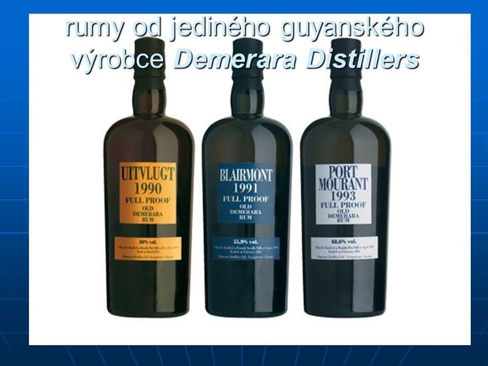 rumy od jediného guyanského výrobce Demerara Distillers