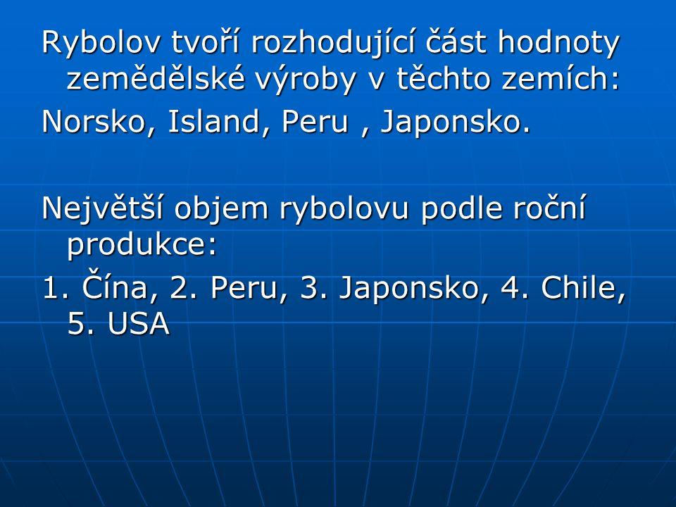 Rybolov tvoří rozhodující část hodnoty zemědělské výroby v těchto zemích: