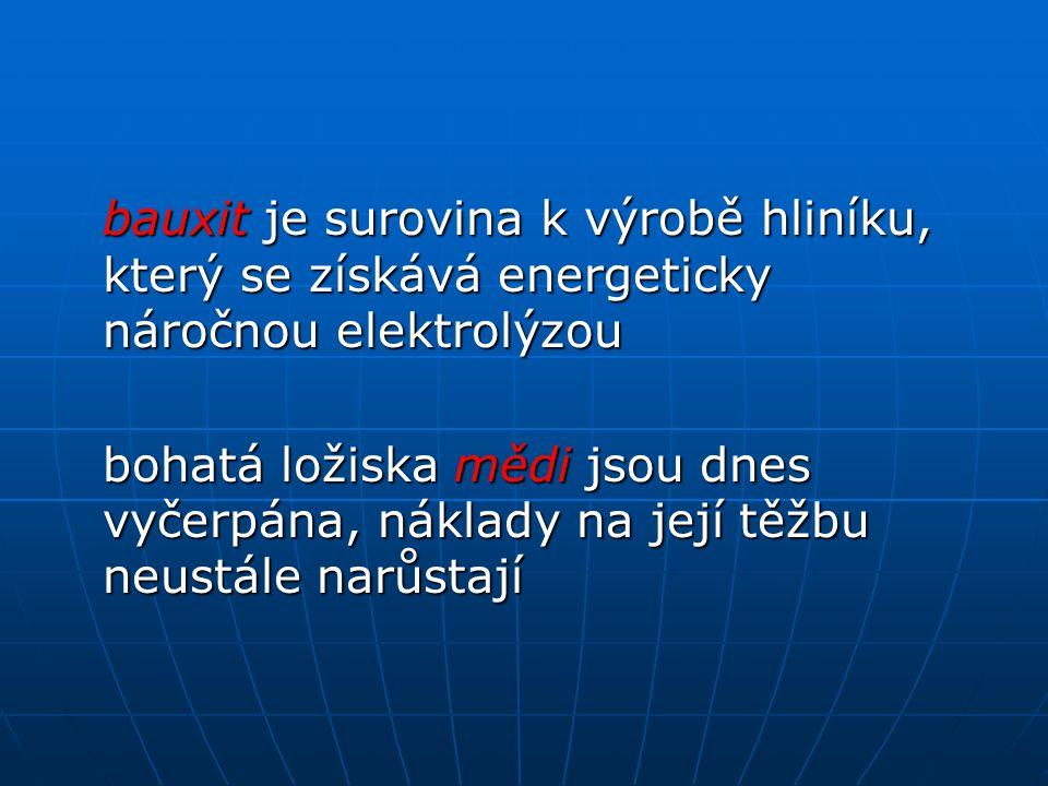 bauxit je surovina k výrobě hliníku, který se získává energeticky náročnou elektrolýzou