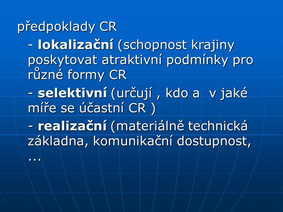 předpoklady CR - lokalizační (schopnost krajiny poskytovat atraktivní podmínky pro různé formy CR.