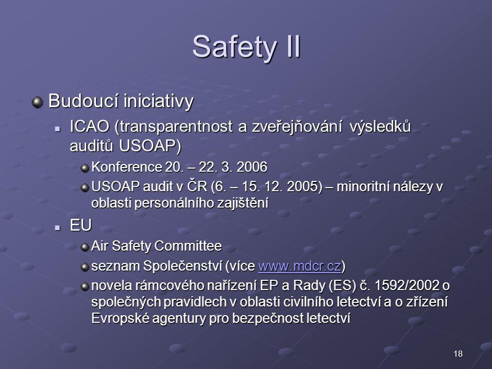 Safety II Budoucí iniciativy