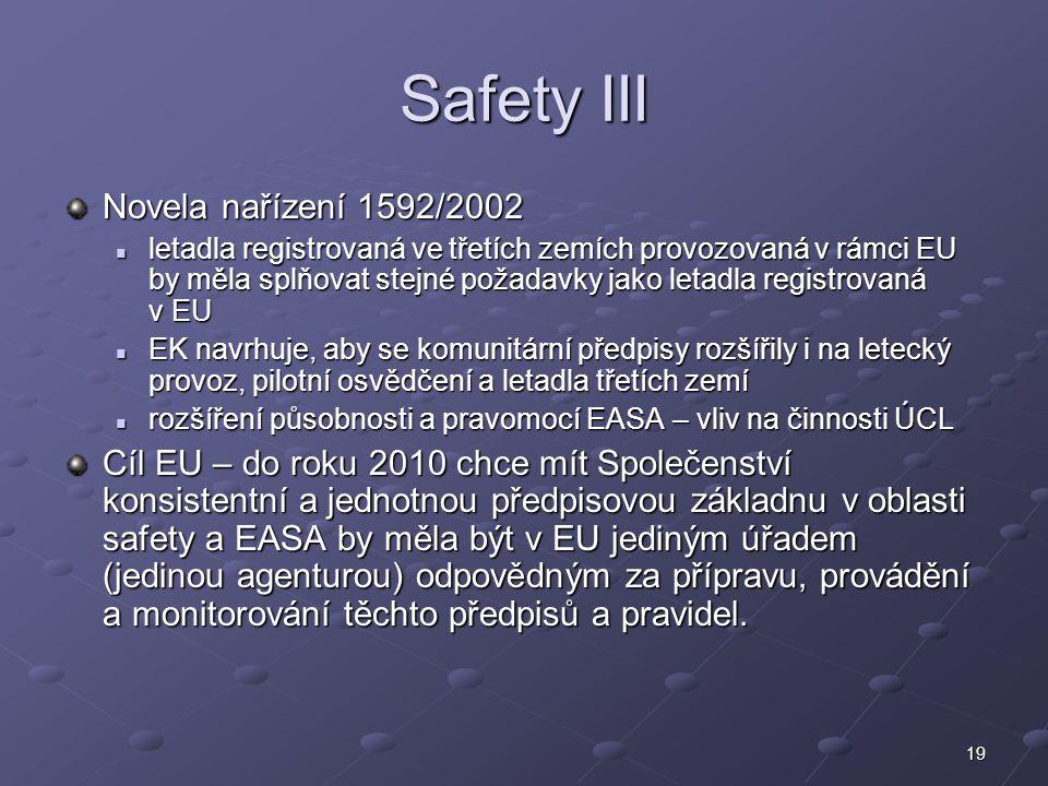 Safety III Novela nařízení 1592/2002