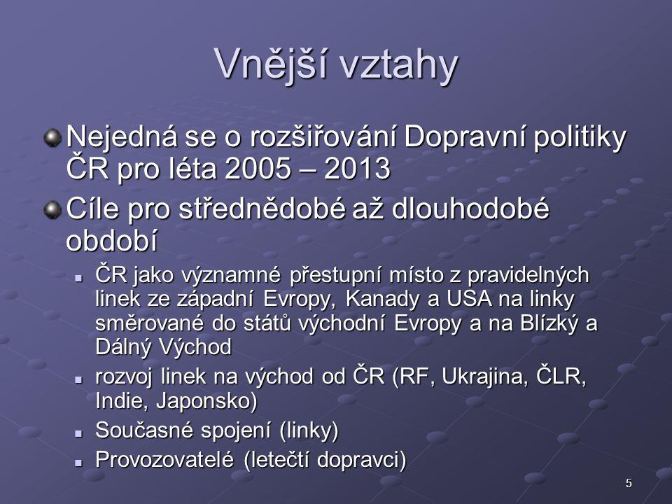 Vnější vztahy Nejedná se o rozšiřování Dopravní politiky ČR pro léta 2005 – 2013. Cíle pro střednědobé až dlouhodobé období.