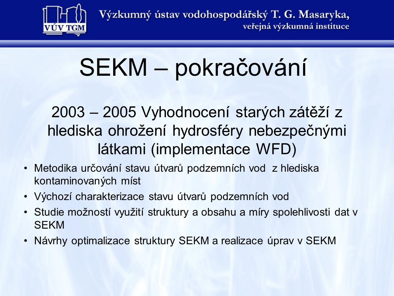 SEKM – pokračování 2003 – 2005 Vyhodnocení starých zátěží z hlediska ohrožení hydrosféry nebezpečnými látkami (implementace WFD)