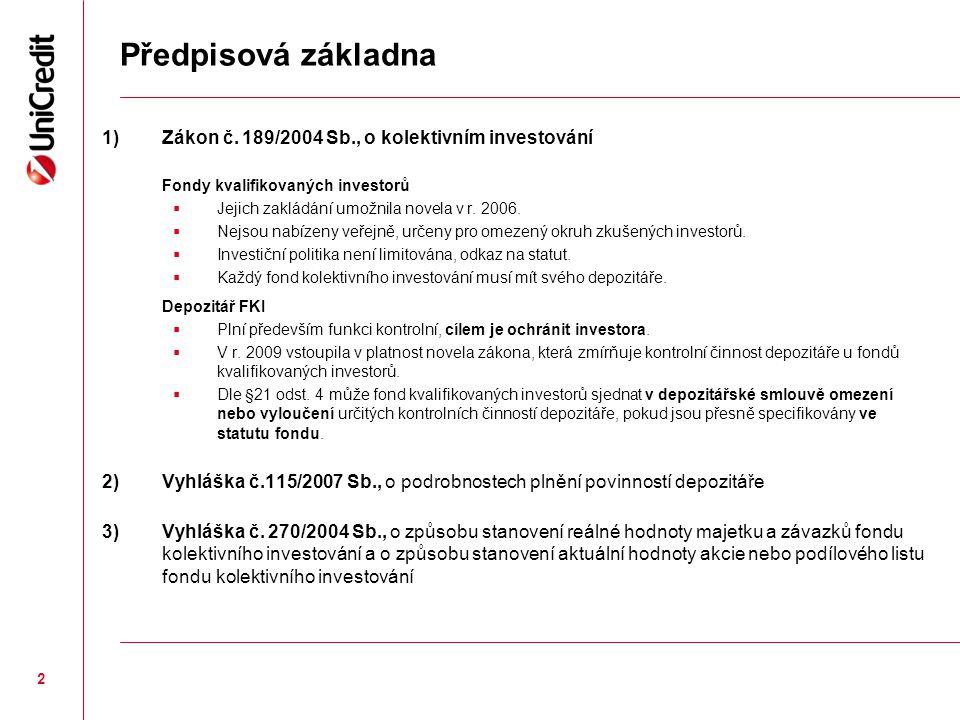 Předpisová základna 1) Zákon č. 189/2004 Sb., o kolektivním investování. Fondy kvalifikovaných investorů.