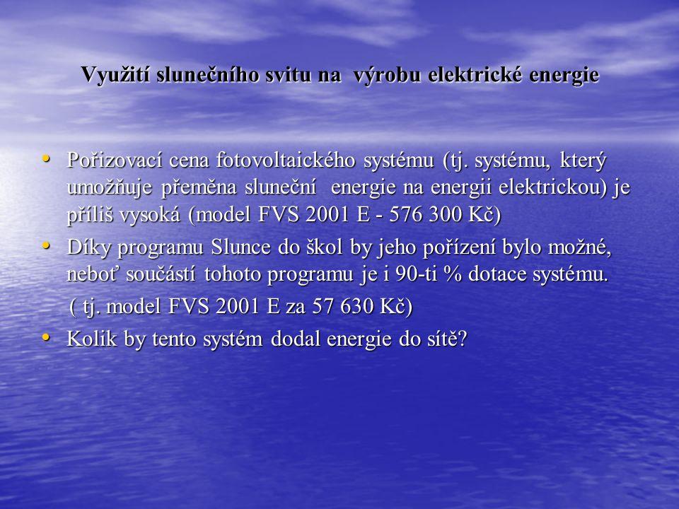Využití slunečního svitu na výrobu elektrické energie