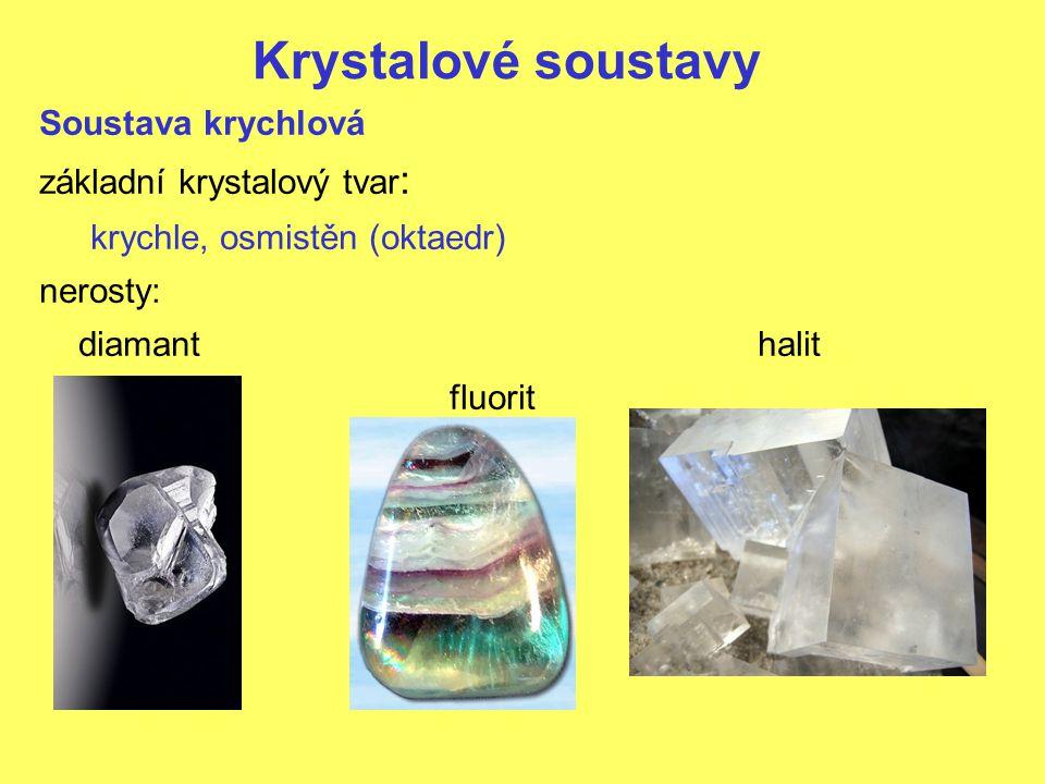 Krystalové soustavy Soustava krychlová základní krystalový tvar: