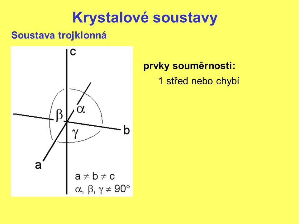 Krystalové soustavy Soustava trojklonná prvky souměrnosti: