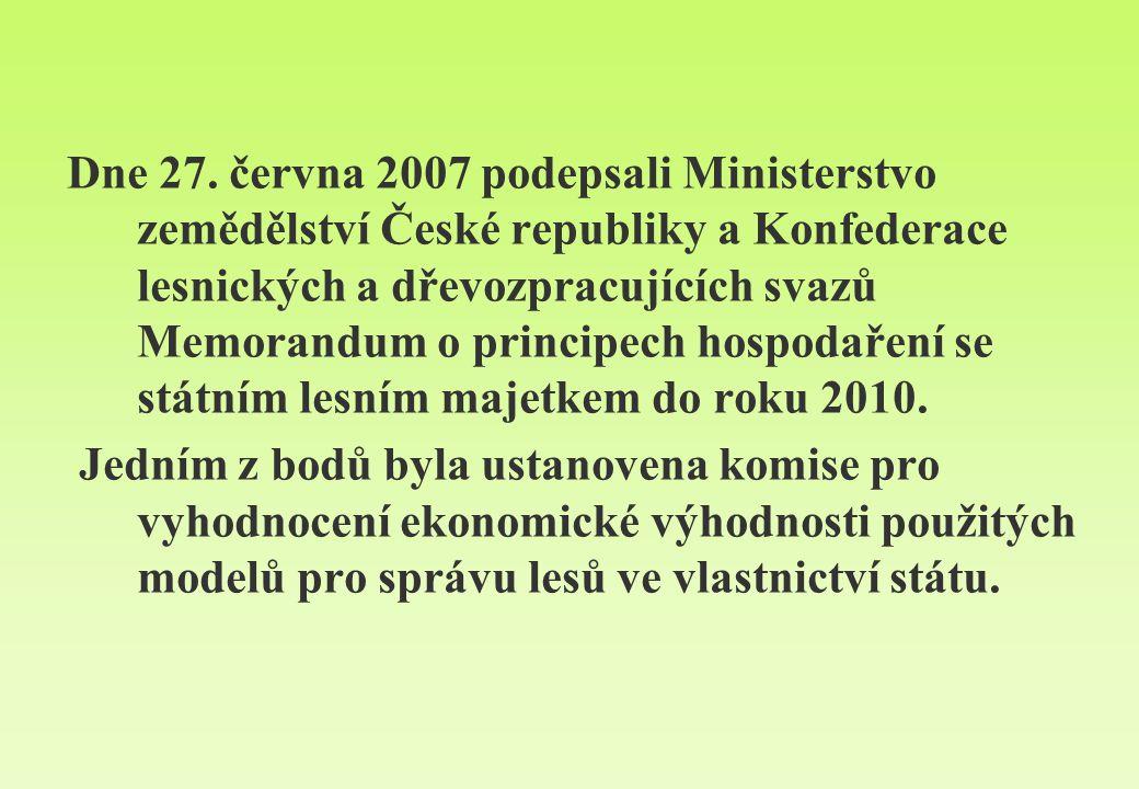 Dne 27. června 2007 podepsali Ministerstvo zemědělství České republiky a Konfederace lesnických a dřevozpracujících svazů Memorandum o principech hospodaření se státním lesním majetkem do roku 2010.