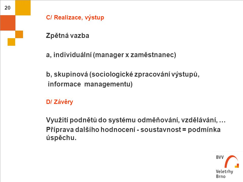a, individuální (manager x zaměstnanec)
