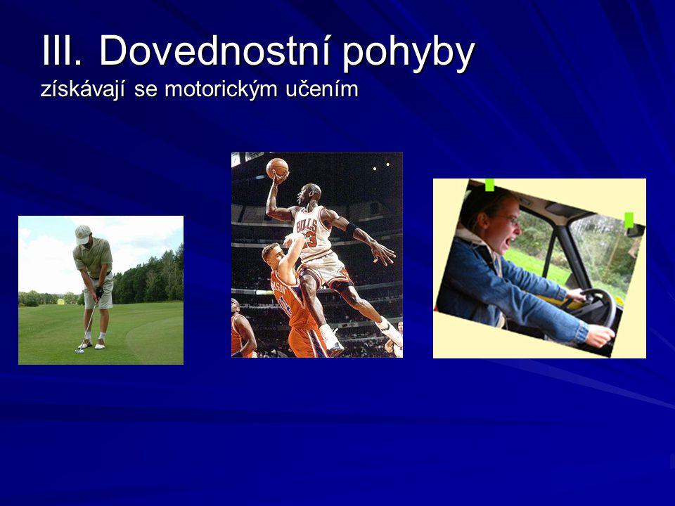 III. Dovednostní pohyby získávají se motorickým učením
