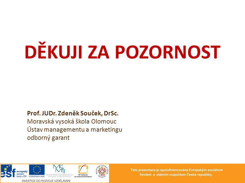 DĚKUJI ZA POZORNOST Prof. JUDr. Zdeněk Souček, DrSc.