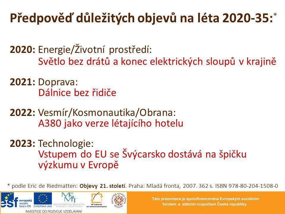 Předpověď důležitých objevů na léta 2020-35:*
