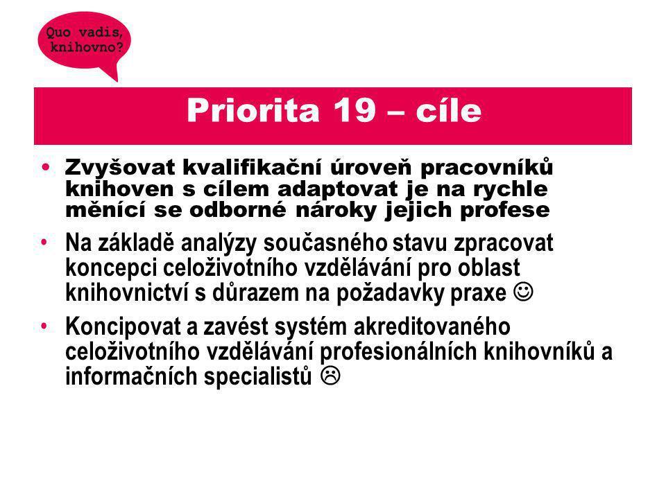 Priorita 19 – cíle Zvyšovat kvalifikační úroveň pracovníků knihoven s cílem adaptovat je na rychle měnící se odborné nároky jejich profese.