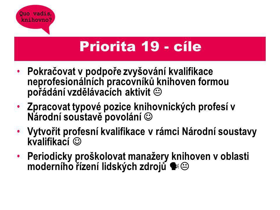 Priorita 19 - cíle Pokračovat v podpoře zvyšování kvalifikace neprofesionálních pracovníků knihoven formou pořádání vzdělávacích aktivit 