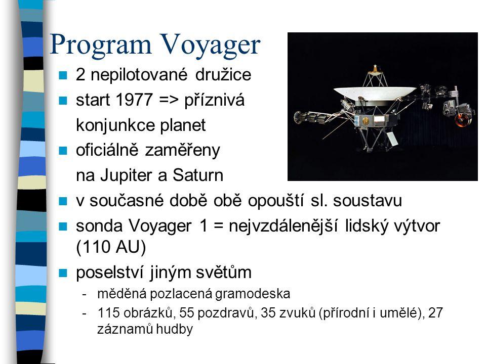 Program Voyager 2 nepilotované družice start 1977 => příznivá