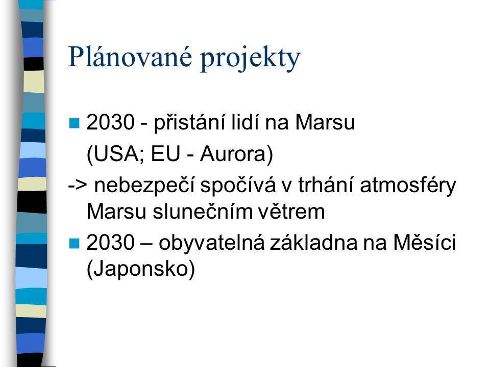 Plánované projekty 2030 - přistání lidí na Marsu (USA; EU - Aurora)